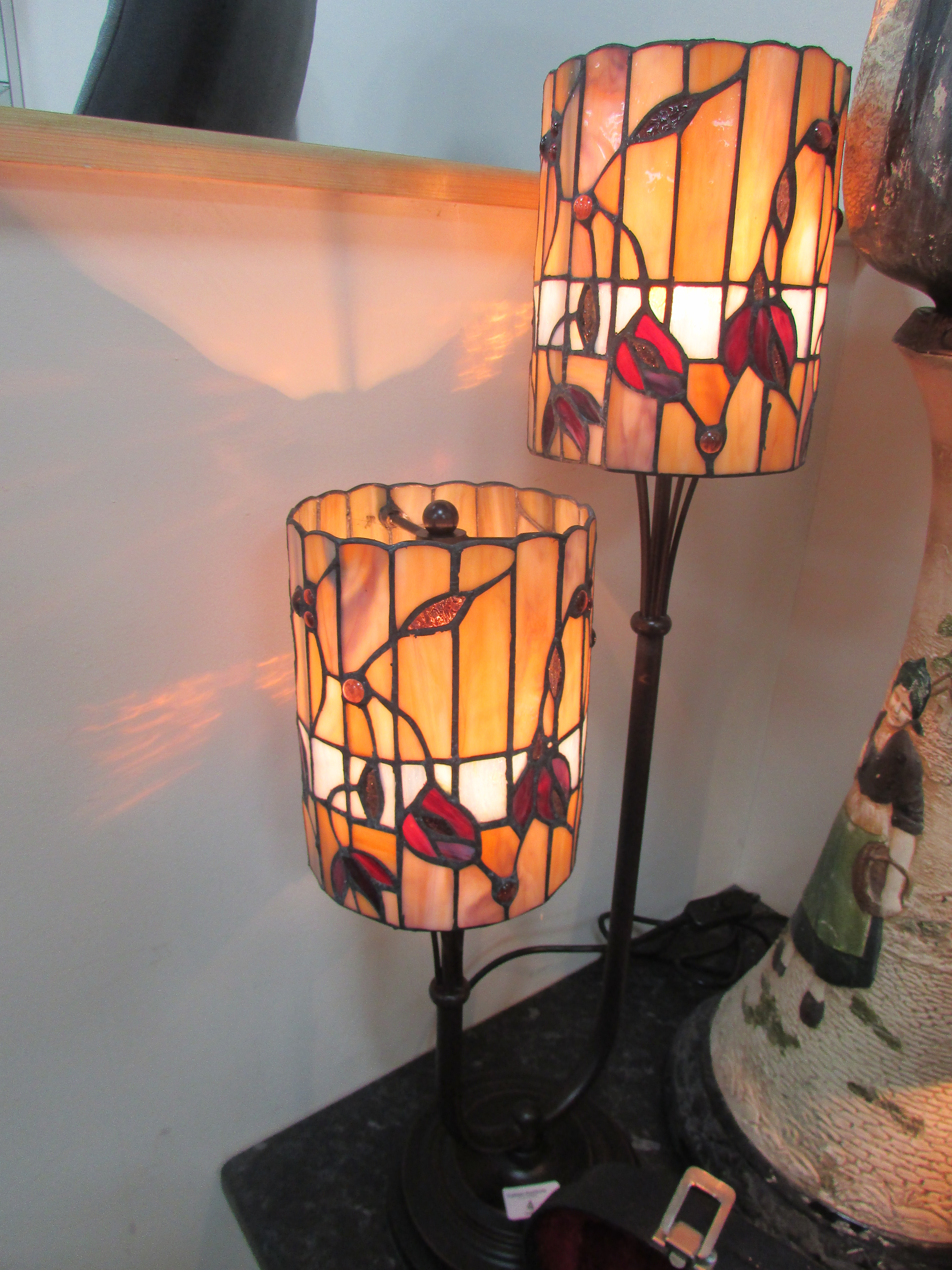"Lot 4 - 2 shade Tiffany style lamp approx 33"" high"