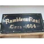 Lot 40 - 'Ramblers Rest' pub sign 6' x 3'