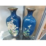 "Lot 30 - Pair 19thC Japanese blue ground cloissone vases 12"" high (one small chip)"