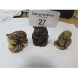 Lot 27 - 3 Netski figures (cat /monkey / owl)