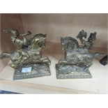 Lot 51 - Pair gilt metal equestrian figures