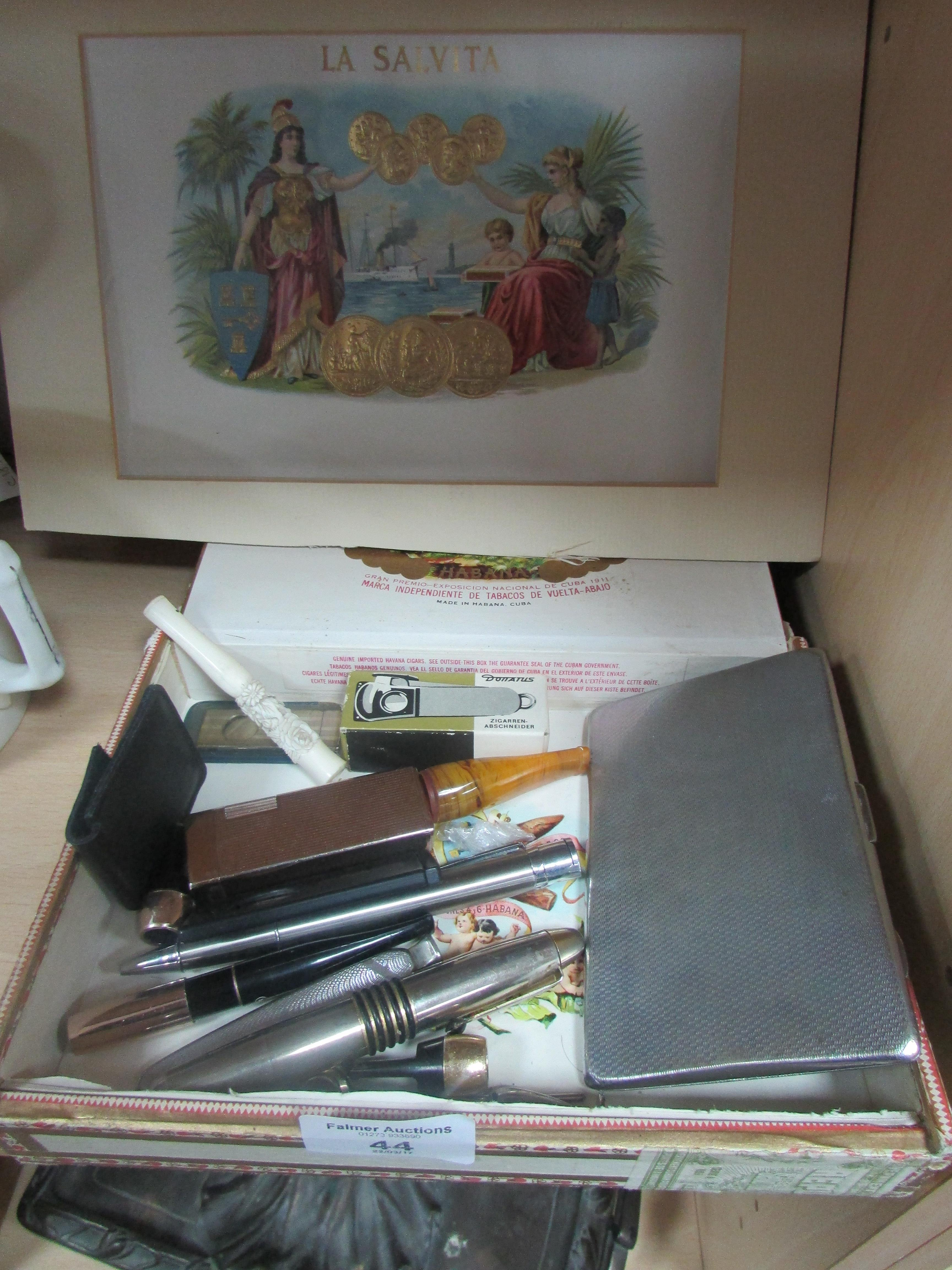 Lot 44 - Small quantity of smoking related items including cigar box covers