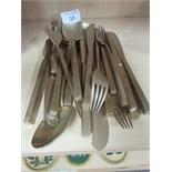 Lot 55 - Brass knives / forks / spoons
