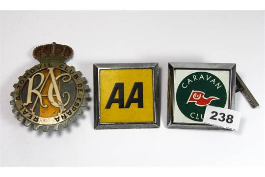 A Spanish Rac Vintage Car Badge And 2 Others