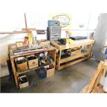 LOT: (1) Rolling Wooden Work Bench with 5 in. Vise, Hardware, Tools, Parts, Mini Refrigerator, Shelf