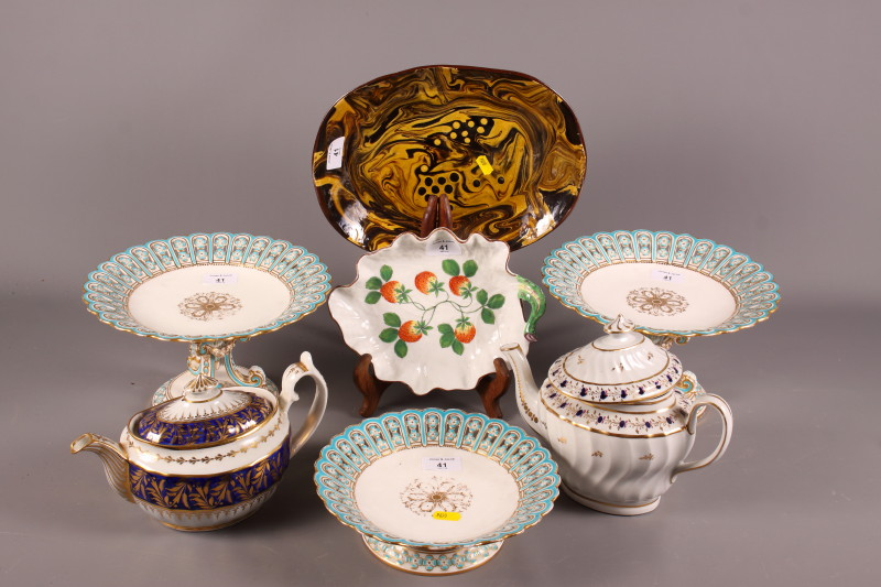 Lot 41 - Two mid 19th century English porcelain fluted teapots with blue and gilt decoration, a Minton