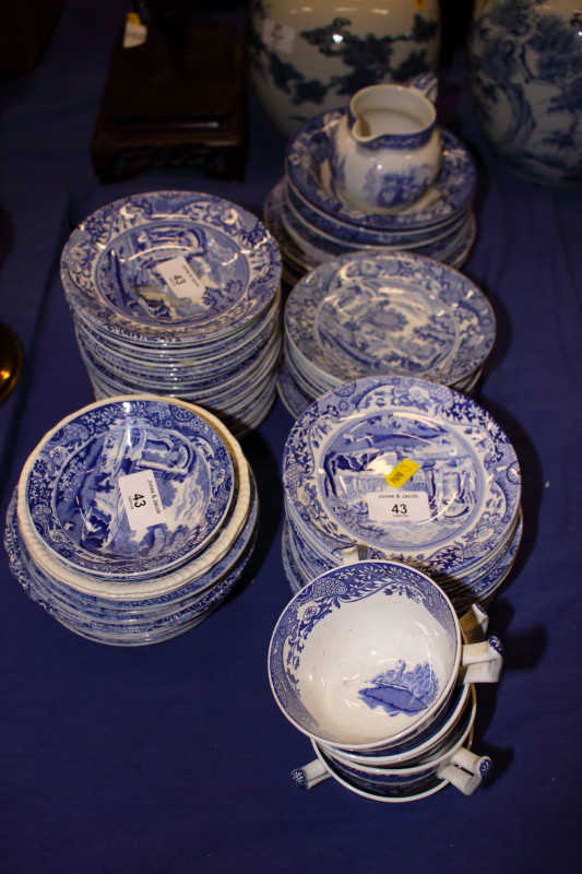 """Lot 43 - A quantity of various blue and white Spode """"Italian"""" dinnerwares"""