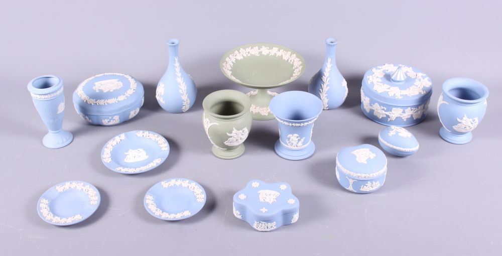 Lot 23 - A collection of Wedgwood Jasperware, mainly blue and green