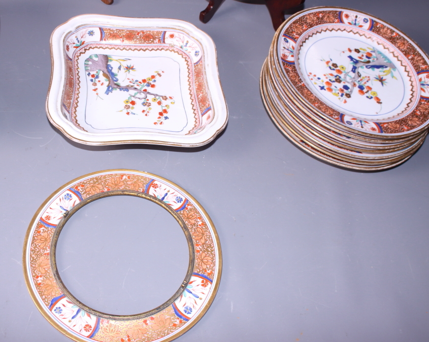 Lot 44 - A 19th century English porcelain part dinner service, decorated in the Chinese style and painted
