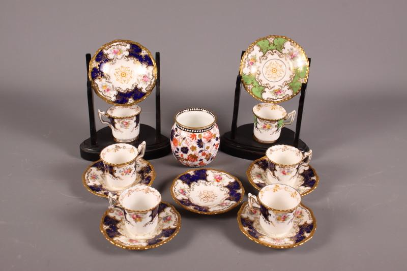 Lot 25 - A mid 19th century Coalport porcelain part coffee set, a Coalport porcelain vase, painted in the