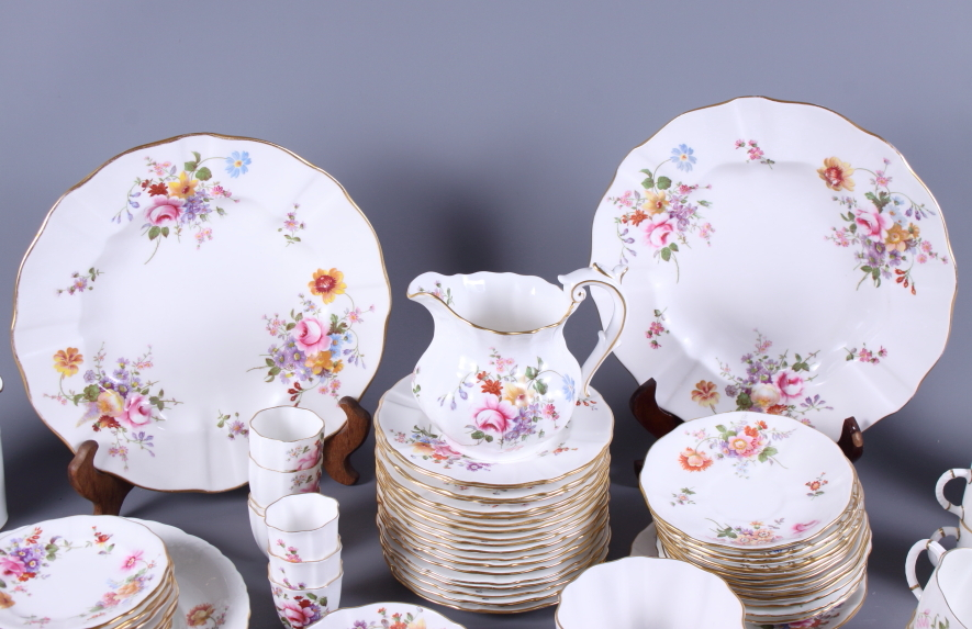 "Lot 37 - A Royal Crown Derby bone china ""Derby Posies"" part combination service, including jugs and bowls,"