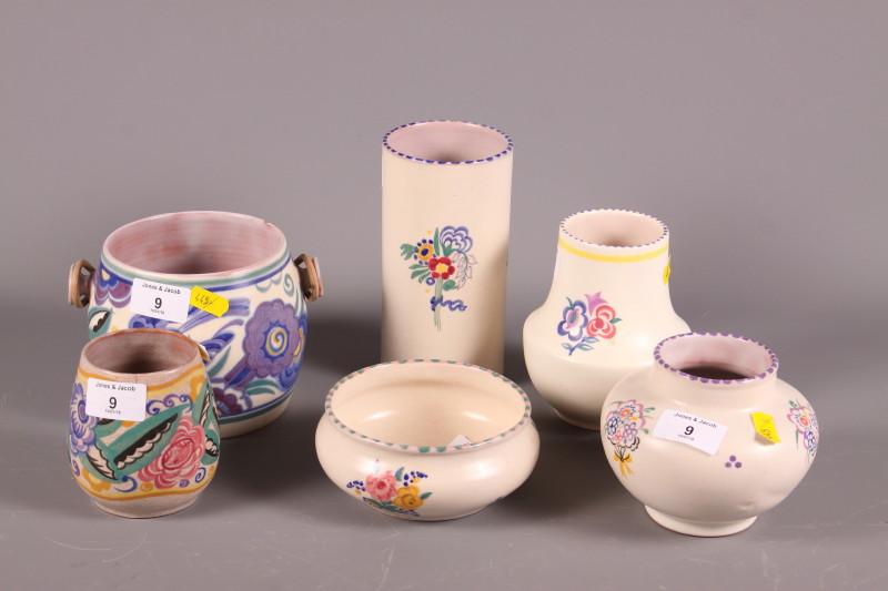 "Lot 9 - A Carter Stabler Adams Poole vase with floral decoration, 3"" high, a similar vase, a biscuit"