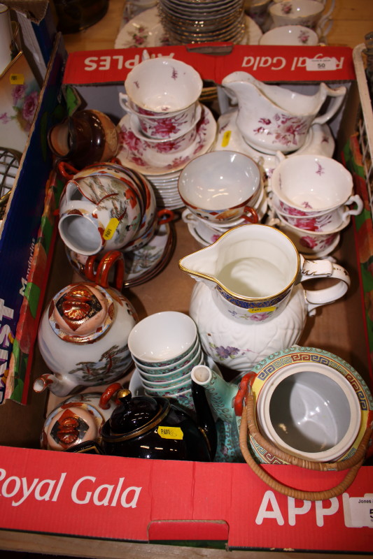 Lot 50 - Three boxes of various ceramics and porcelain, including a modern Coalport cabbage leaf moulded jug,