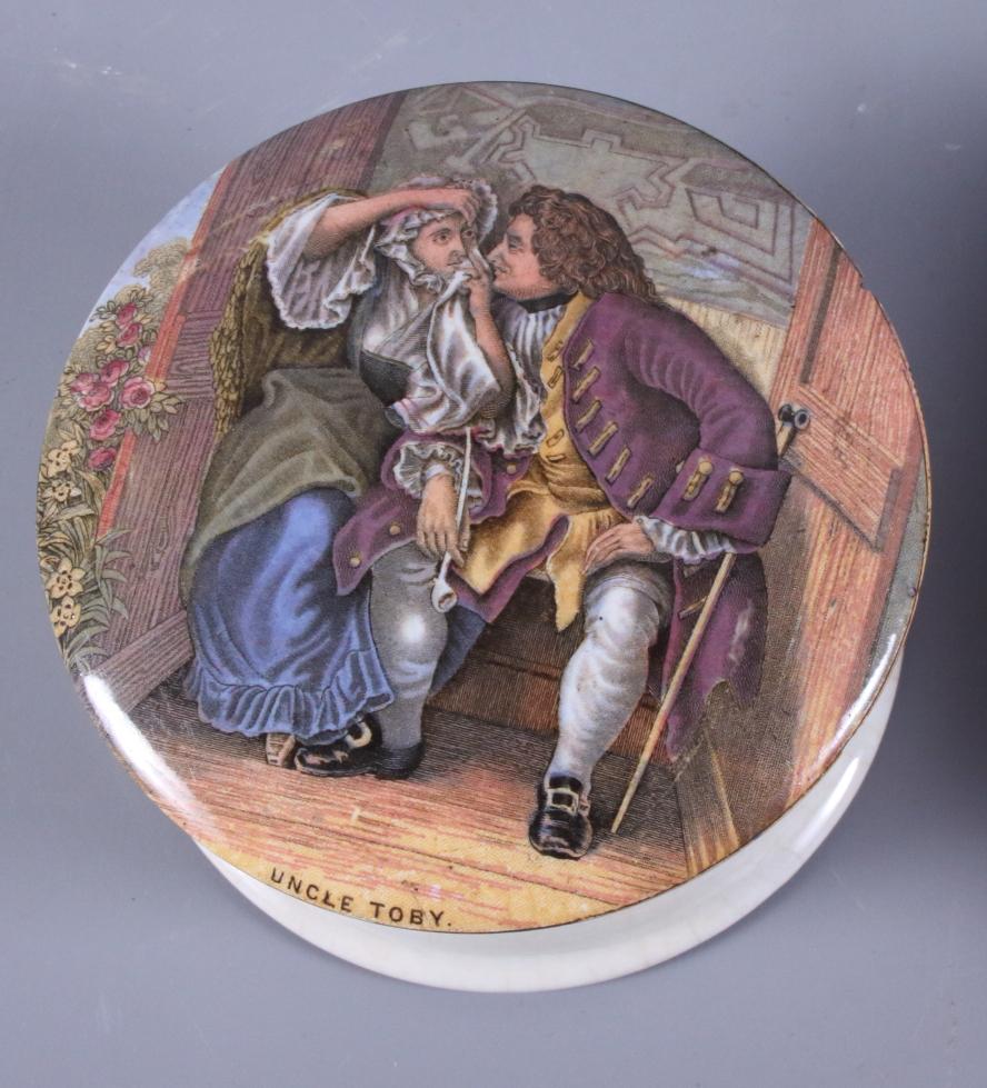 Lot 19 - Fourteen 19th century Prattware pot lids including Shakespeare's House Stratford upon Avon, Little