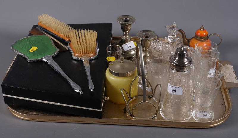 Lot 49 - A collection of various glassware, together with a pair of silver plated candlesticks and other