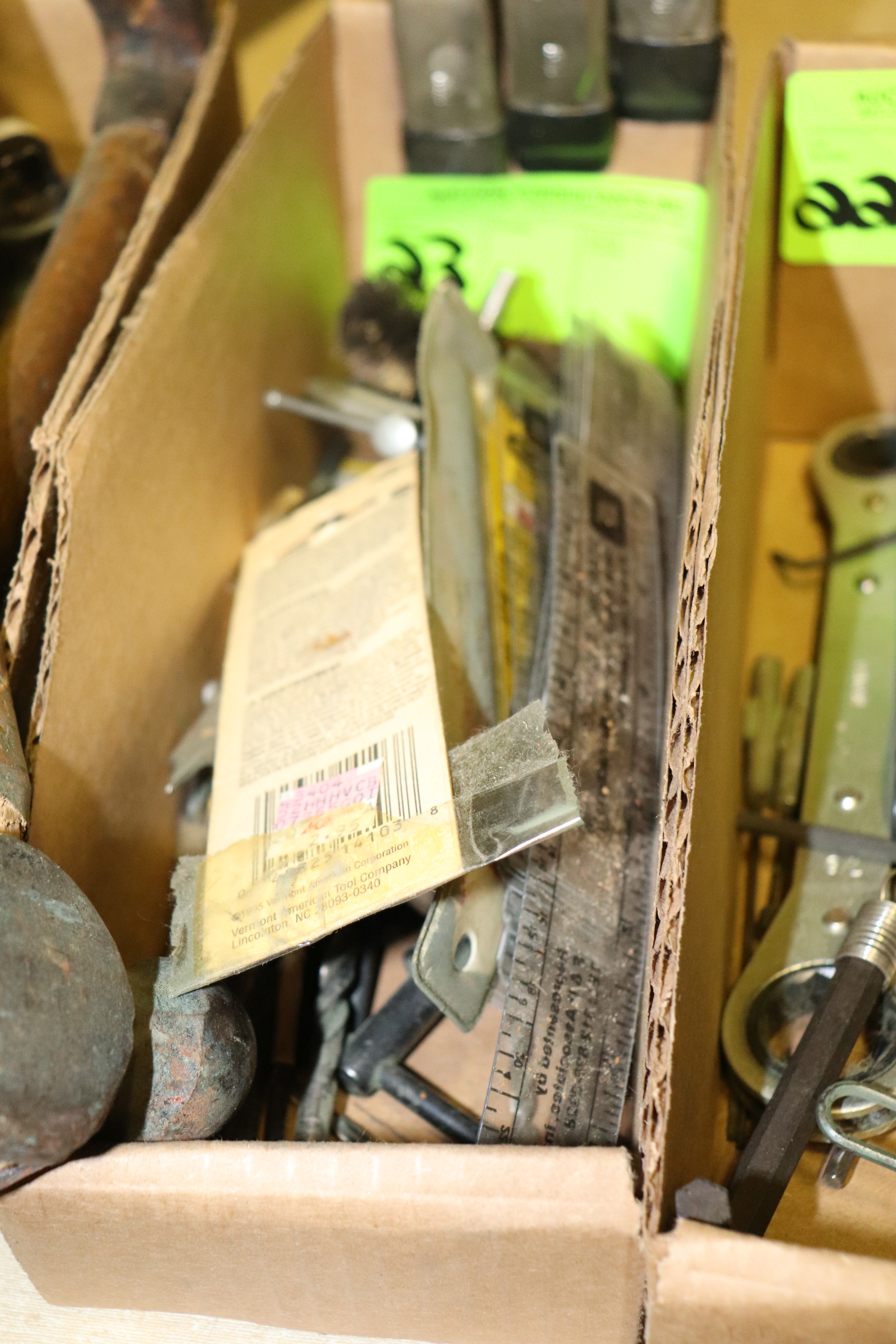 Lot 23 - Clamps, drill bits, and rulers
