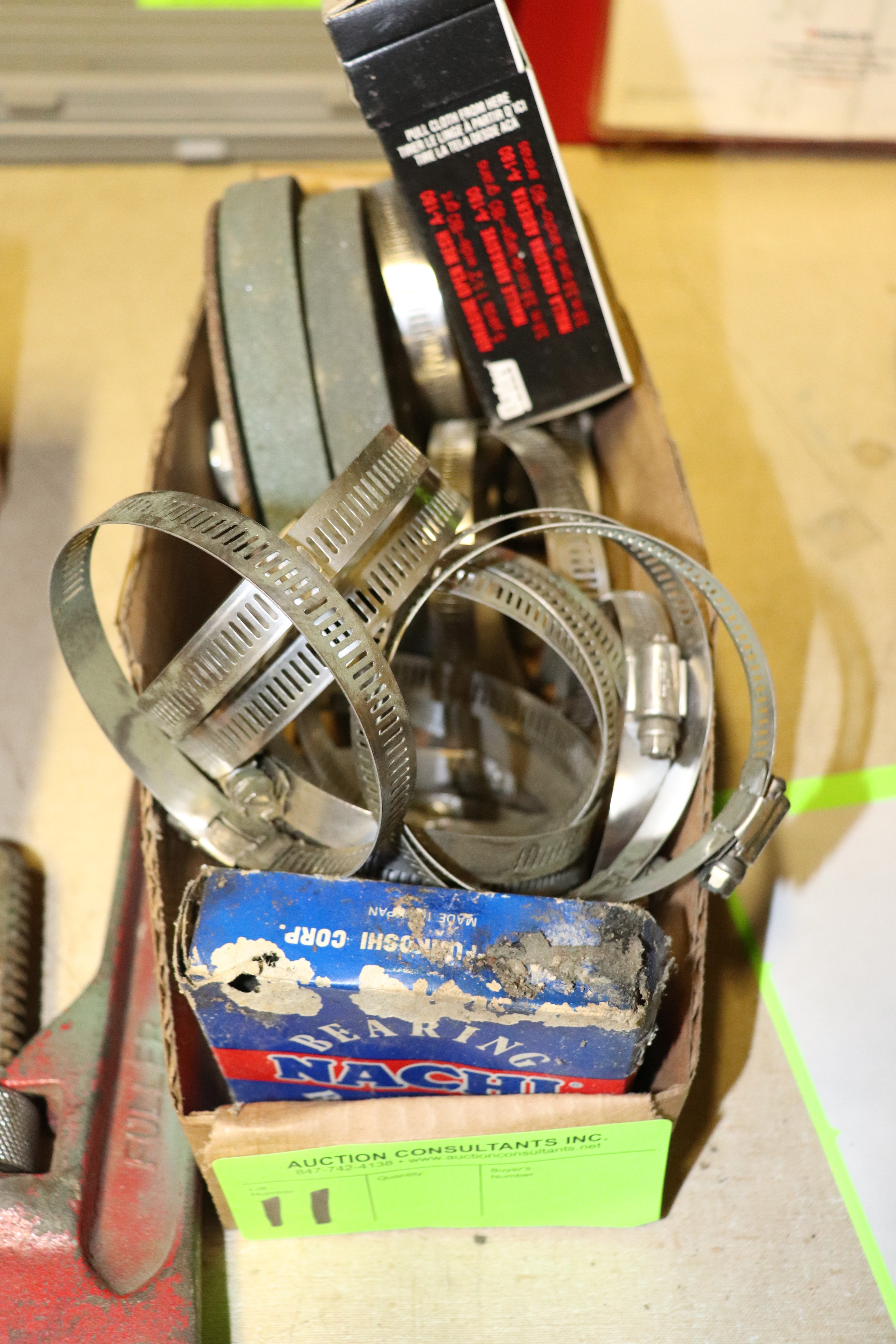 Lot 11 - Ball bearings, abrasive wheels and pipe clamps