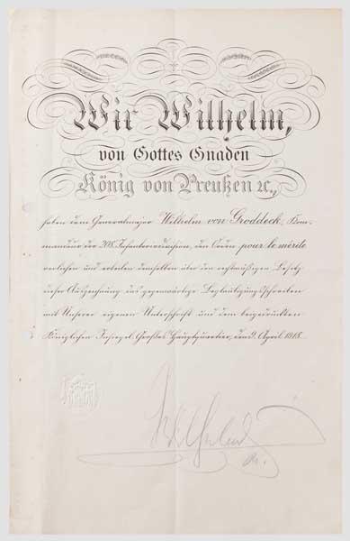 Generalmajor Wilhelm von Groddeck - Verleihungsurkunde zum Orden ...