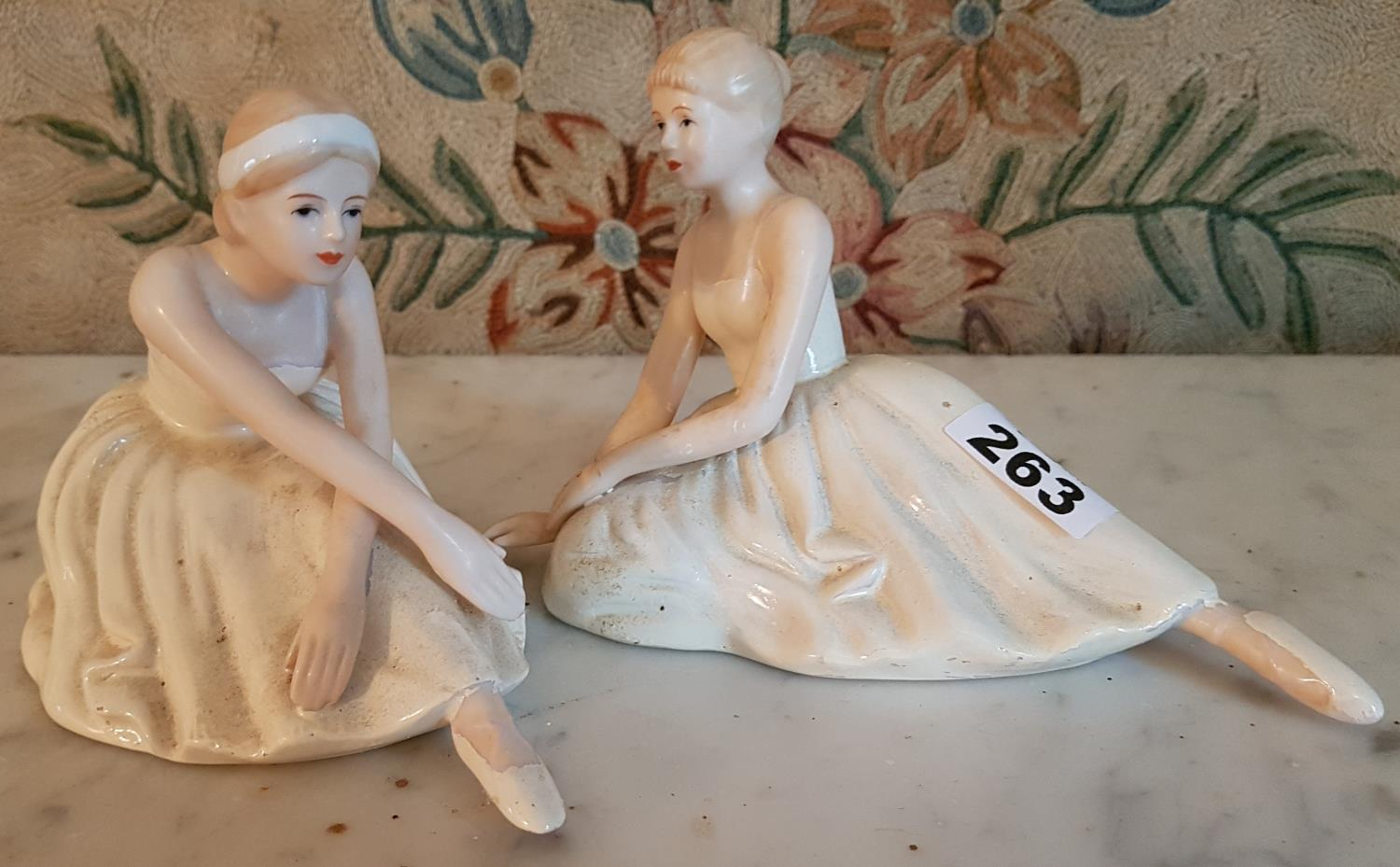 Lot 263 - Two German Pottery Figures of Ballerinas.