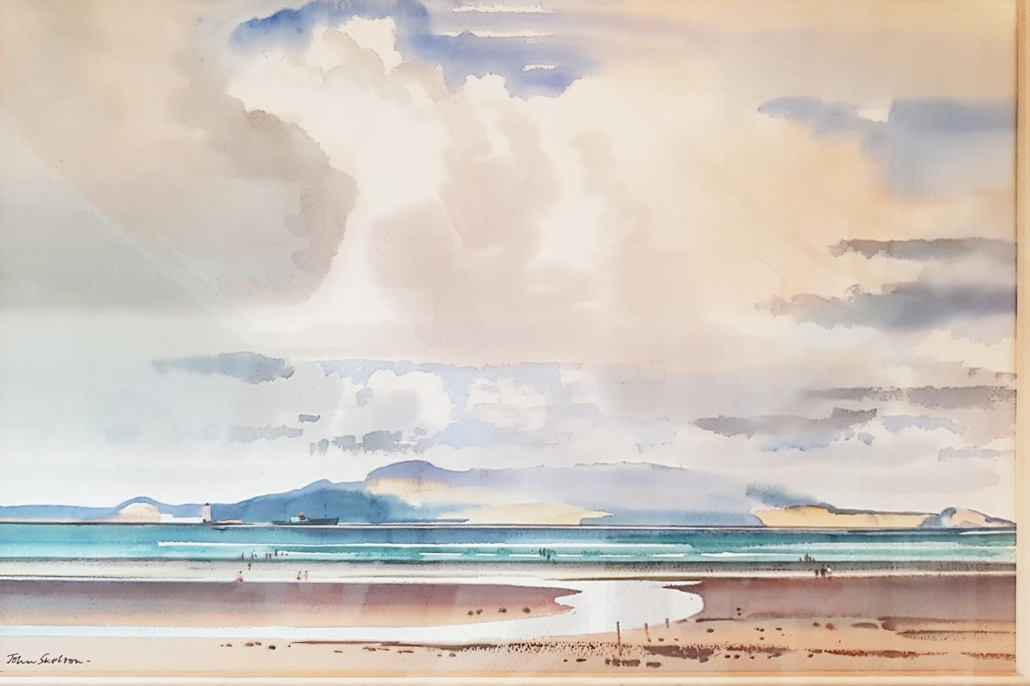 Lot 44 - A 20th Century Watercolour of the Seaside with a ship and lighthouse in the distance by John