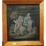 A 19th Century Tapestry in a birds eye maple frame. 39cm.