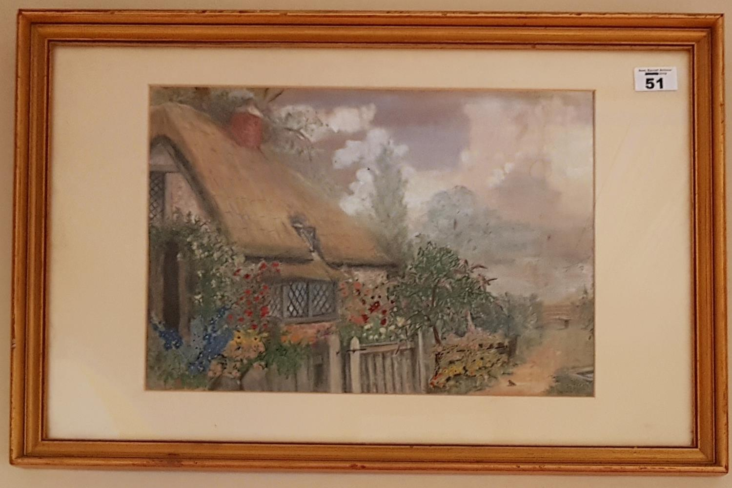 Lot 51 - A 19th Century Watercolour of a cottage garden.