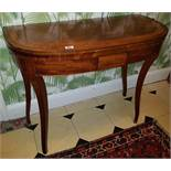 A Regency Mahogany Crossbanded Foldover Card Table with carved tapered supports. 92cm.