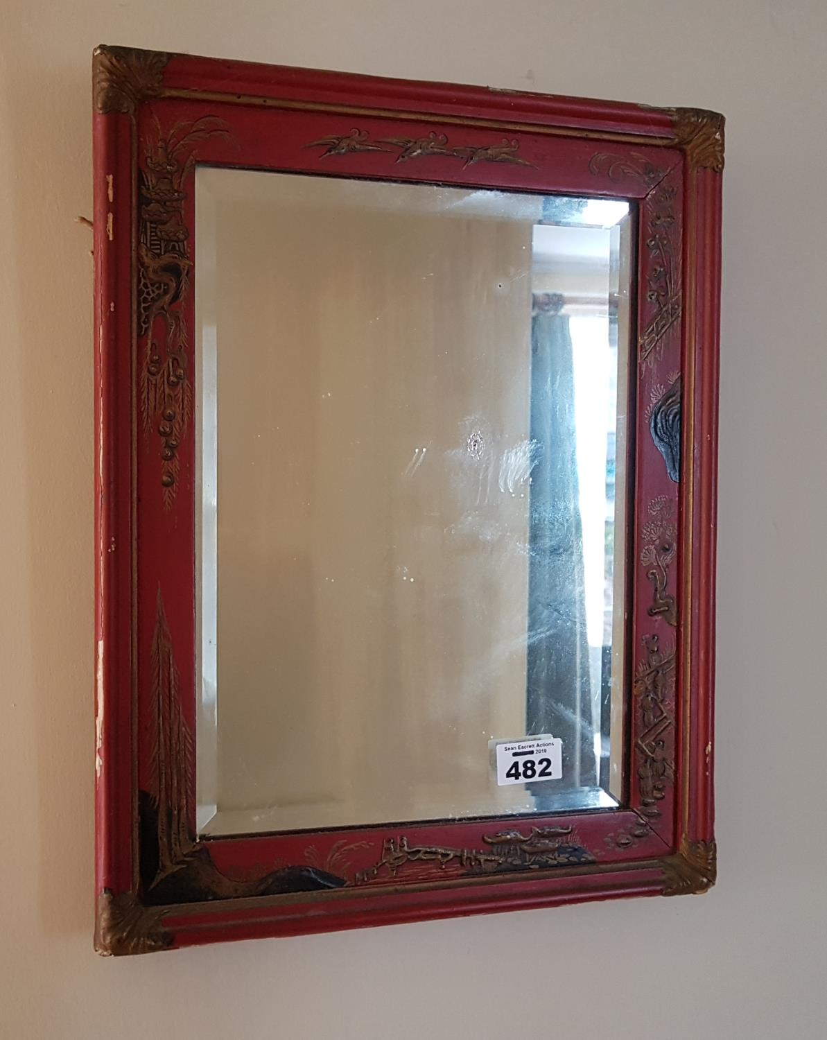 A late 19th early 20th Century Chinoiserie Mirror.