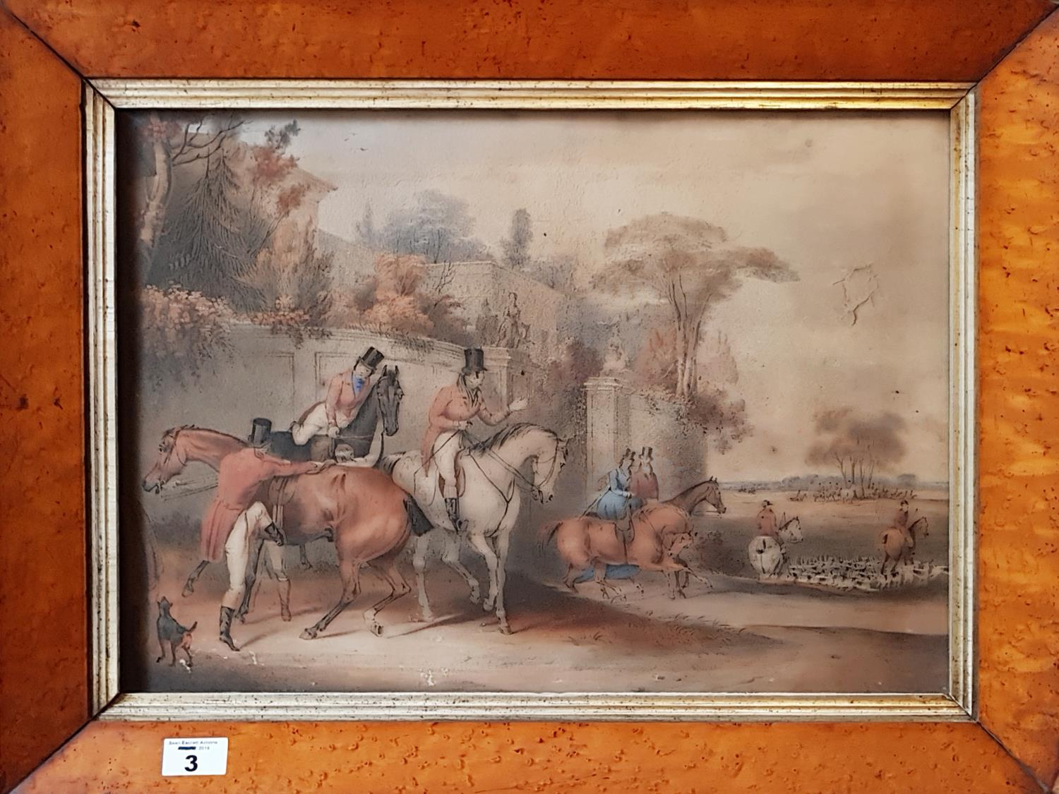 Lot 3 - A 19th Century Coloured Engraving of a Hunting Scene in a birds eye maple frame. 46cm.