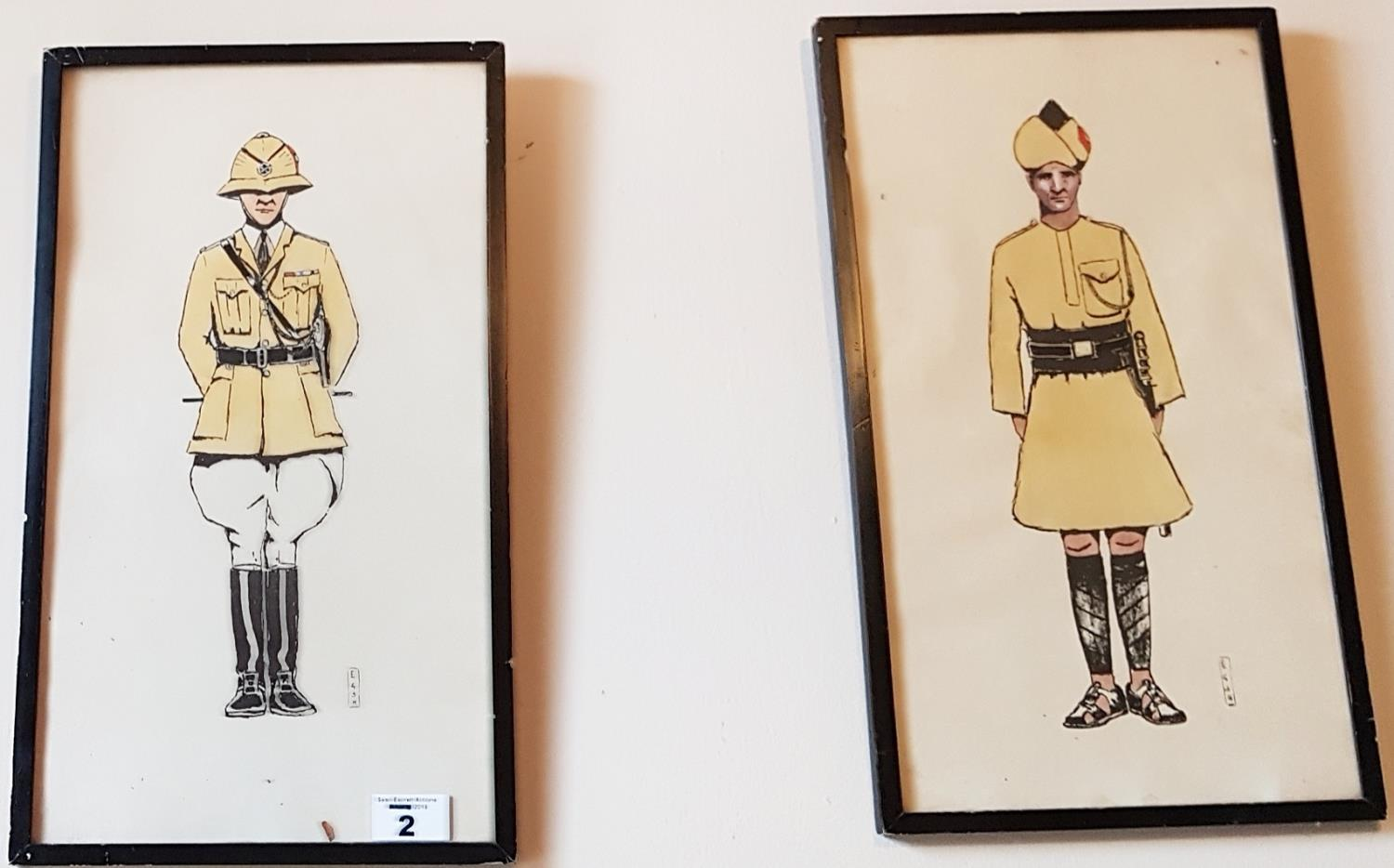 A pair of 19th Century Coloured Prints of Military Officers. - Image 2 of 3