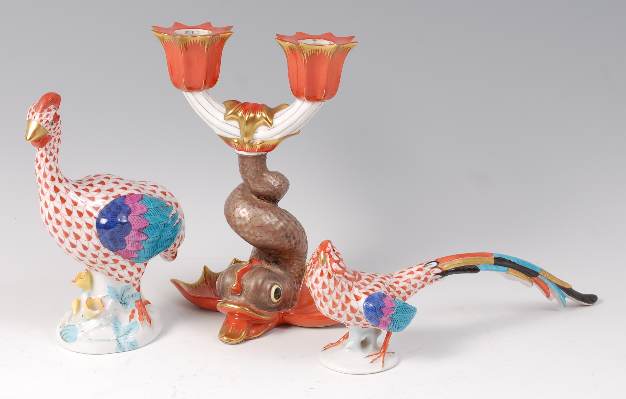 A Herend of Hungary porcelain candelabra, in the form of a koi ...