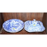 """Four pieces of early Spode """"Italian"""" dinnerware, three serving bowls and a tureen with lid (a/f)"""