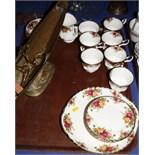 """A Royal Albert """"Old Country Roses"""" part teaset for six, twenty-one pieces approx"""