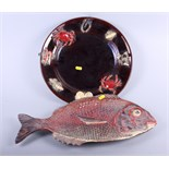 """A Palissy style charger with crustacean decoration, 14"""" dia (small chips) and a red snapper shape"""