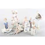 Seven Spanish porcelain figures, various, including Lladro and Nao