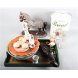 A bread crock, a metal mounted horse ornament, a replica pistol and assorted decorative ceramics