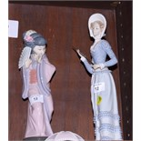 Two Lladro figures, Japanese woman with a fan and woman with a parasol