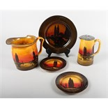"""Five pieces of Royal Doulton, """"Poplars at Sunset"""" pattern series ware pottery, D3416"""