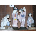 Four Lladro porcelain figures of Chinese women (one a/f)