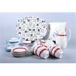 """A Midwinter Stylecraft """"Red Domino"""" pattern coffee set for six, various other Midwinter """"Domino"""""""