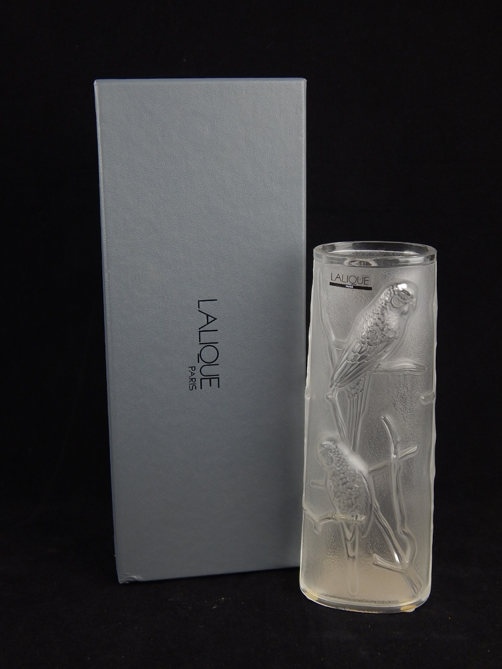 Modern Lalique Budgerigar pattern frosted glass vase with ...