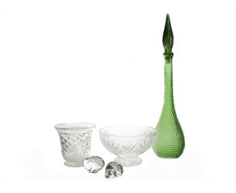 A selection of 20th & 21st Century cut and moulded glassware, a Linda Allyn scent bottle and two others (one missing stop