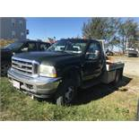 2002 Ford F350 XLT 4x4, V10 Gas, Auto, 8' Wood Flatbed, Winch, Arctic 9' Plastic Plow, Odom. VIN