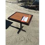{LOT} (8) Wood Top Tables, (16) Metal Ladder Back Metal Frame Uph. Seat Chairs