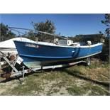 22' Center Console Fiberglass Boat with Johnson 50HP Outboard & Shoreline Single Axle Trailer