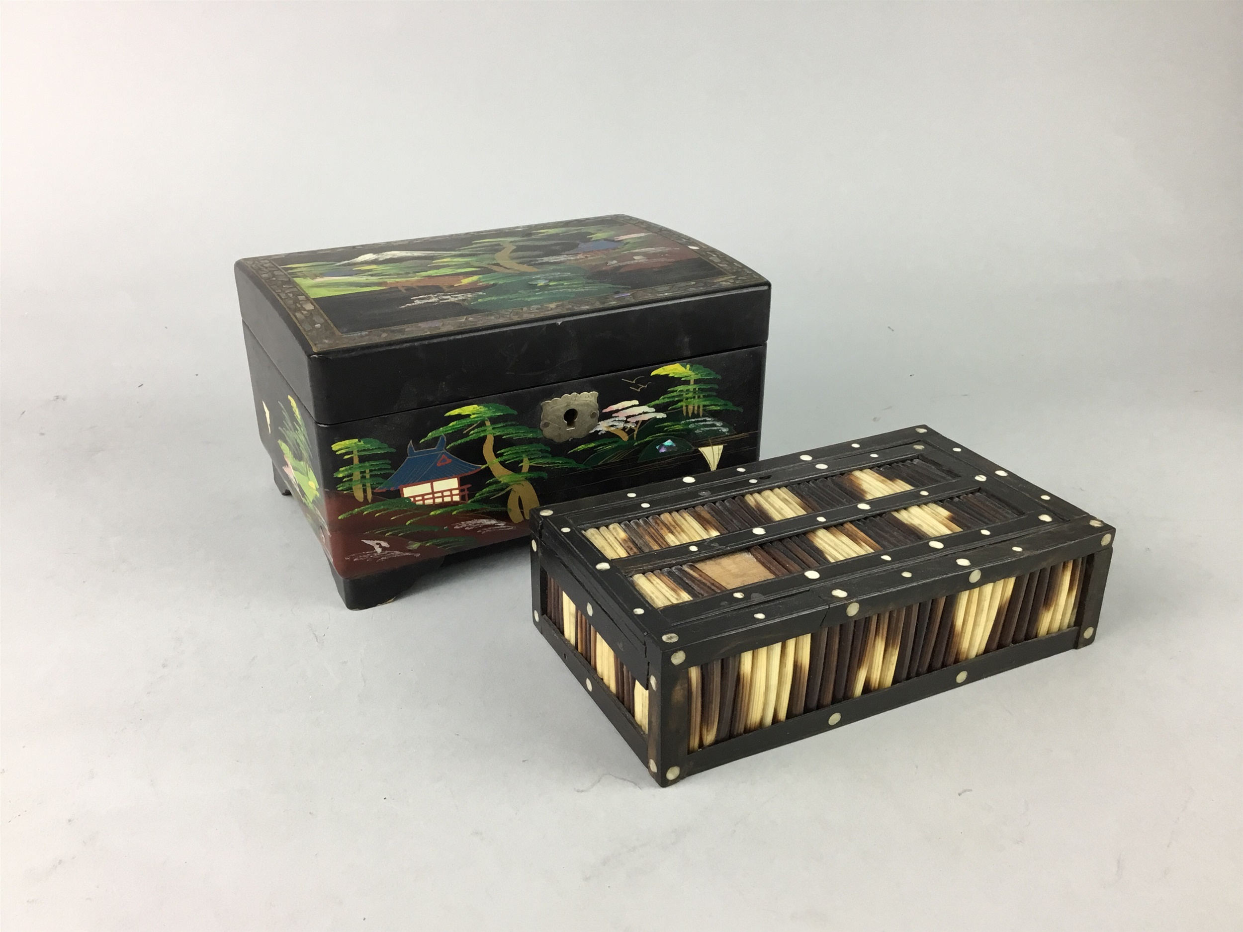 A LACQUERED AND PAINTED JEWELLERY BOX AND TWO OTHER BOXES - Image 2 of 2