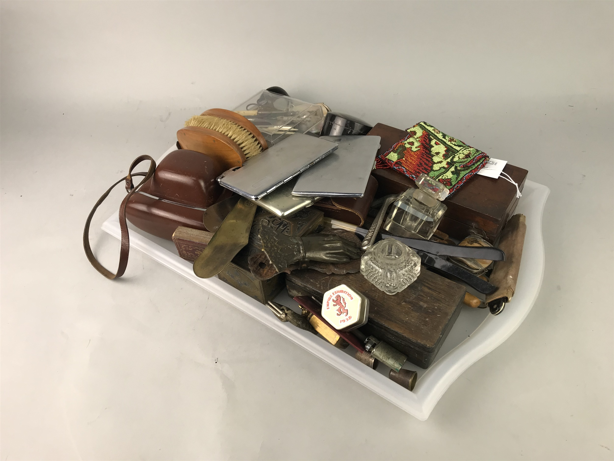 A SYKES HYDROMETER, A CIGARETTE CASE AND OTHER VARIOUS ITEMS
