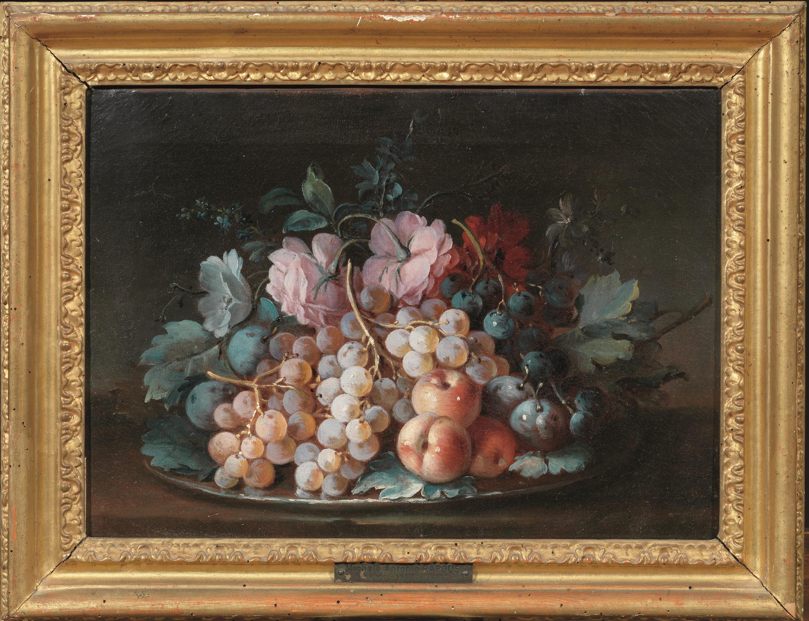 Maniera di michele antonio rapous composizione di fiori e for Fiori dipinti ad olio