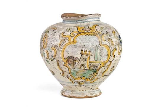 Vaso in maiolica policroma fornace siciliana fine xviii secolo a