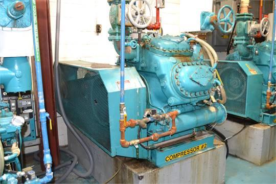 Mycom 100 HP 8-Cylinder Ammonia Compressor, Model: N8BM, S/N: 16730